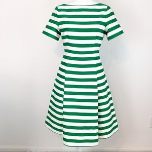 Kate Spade NWT green stripe fit and flare dress